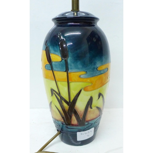610 - A large Moorcroft Reeds at Sunset table lamp, 28.5cm...