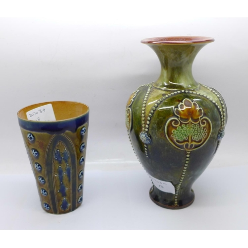 612 - A Royal Doulton stoneware vase, 3425A mark and a Doulton Lambeth beaker, 1877 mark...