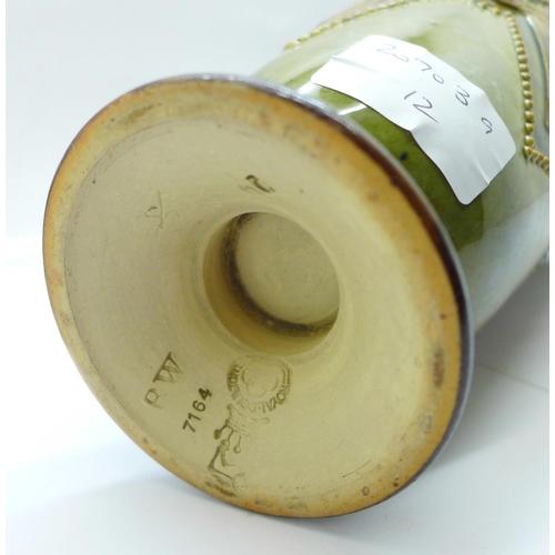 613 - A Royal Doulton stoneware vase with crimped rim, 7164 mark, 20cm...