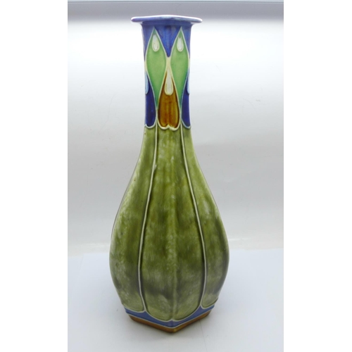 615 - A Royal Doulton Lambeth Art Nouveau vase, 27cm...
