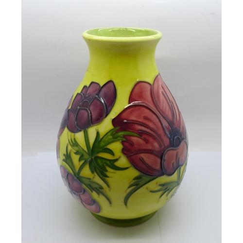 619 - A Moorcroft Anemone vase on a yellow ground, 19.5cm...
