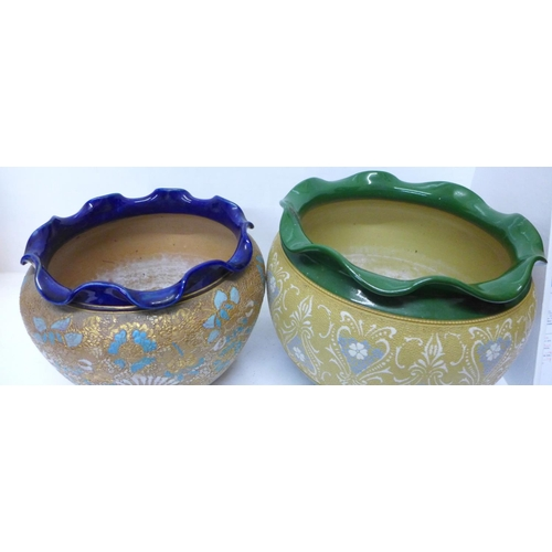 624 - A Lovatt Langley Ware jardiniere and a Royal Doulton Slater's Patent jardiniere...