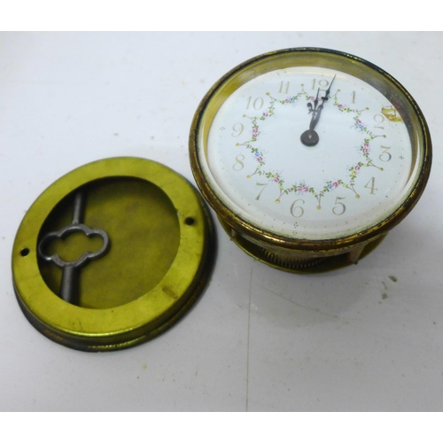 625 - An Art Nouveau style ceramic clock, 29.5cm, movement requires mounting...