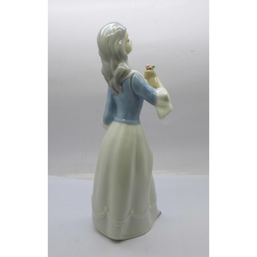 627 - Two Nao by Lladro geese figures and a Spanish figure of a woman...