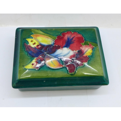 650 - A Moorcroft trinket box and cover, signed W Moorcroft to the base and lid, 12cm x 9cm...