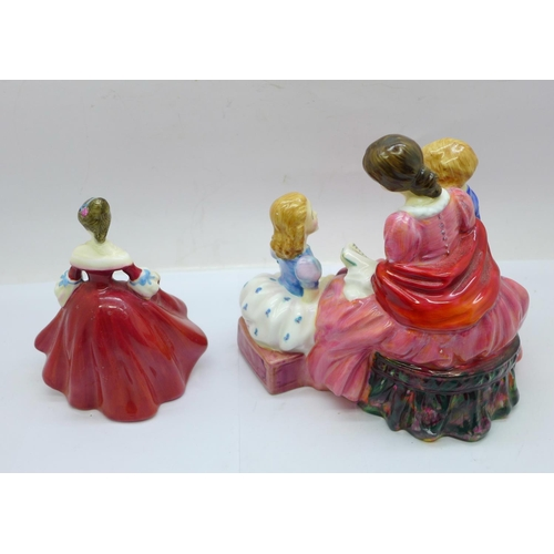 653 - Two Royal Doulton figures; The Bedtime Story HN2059 and Southern Belle HN3174, both a/f (heads reglu...