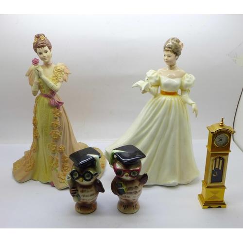 656 - Novelty owl salt and pepper pots, a/f, a Royal Doulton figure, Kathleen, a Coalport figure and a min...