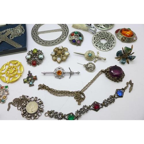 657 - Celtic jewellery including St. Justin pewter...