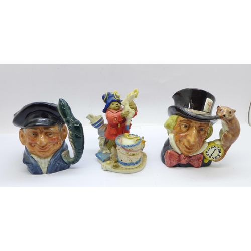 659 - Two small Royal Doulton character jugs and a Royal Doulton Paddington figure...