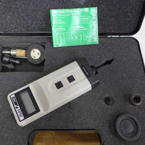 2023 - Lucas hand held Tachometer Microtach 8300 in fitted case with instructions & various contact pieces ...