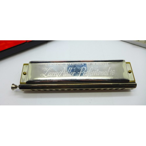 656A - Two Hohner The Larry Adler Professional 16 chromatic harmonicas, boxed...