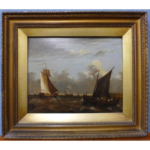 1 - Continental School (19th Century), ships off the coast in stormy seas, oil on panel, 23 x 29cms, fra...