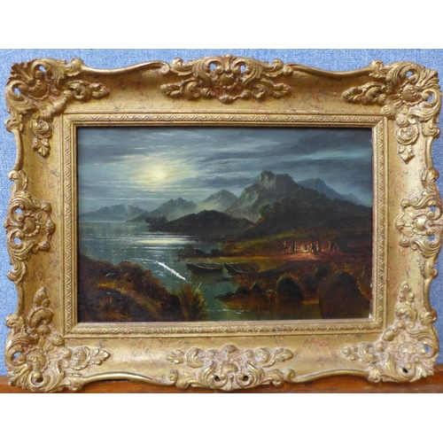 10 - George Salter (19th Century), Early Moonrise at Coniston Water with figures around a camp fire, oil ...