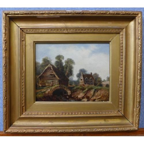 11 - English School (19th Century), rural scene with a figure crossing a bridge, oil on canvas, 18 x 23cm...