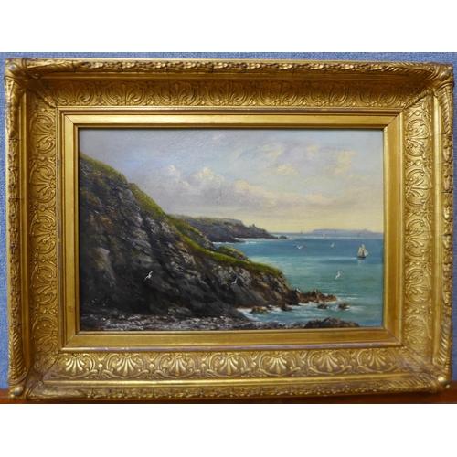 12 - English School (late 19th Century), coastal scene, oil on canvas, 19 x 29cms, framed...