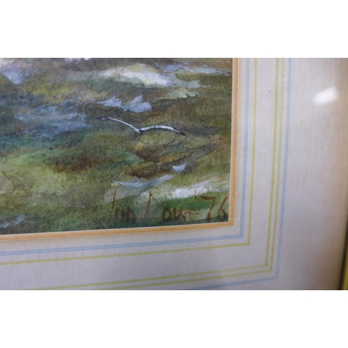 13 - Ian Lowe, Dutch boats in rough seas, watercolour, signed and dated '76, 21 x 27cms, framed...