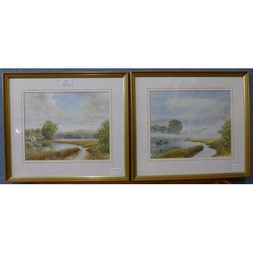 15 - David Juffley (1917-2003), pair of Cornish landscapes, watercolour, 23 x 29cms, framed...