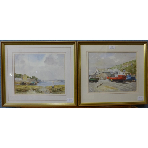 16 - David Juffley (1917-2003), Cadgwith Cove and The Old Waterfront, watercolour, 23 x 29cms, framed...
