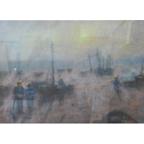 17 - W.M., two harbour scenes, pastel, 21 x 25cms and 19 x 26cms, framed...