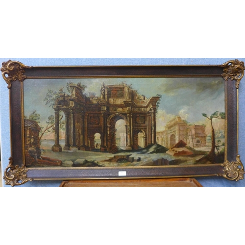 19 - Italian School, landscape with ruins, oil on canvas, 47 x 109cms, framed  *Please note this lot attr...