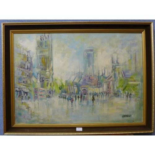 24 - Keith Stephens, Manchester street scene, oil on canvas, 60 x 86cms, framed...