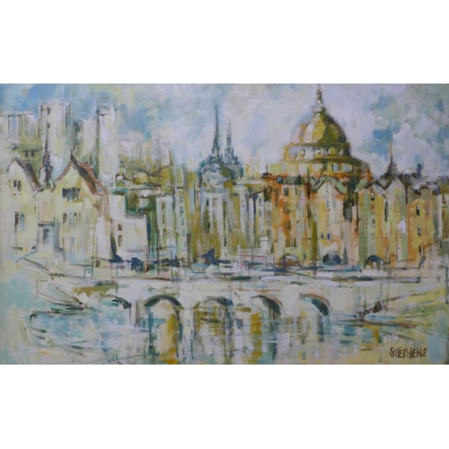 25 - Keith Stephens, Venetian landscape, oil on canvas, 60 x x 96cms, framed...