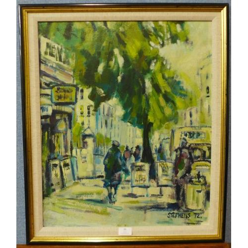 26 - Keith Stephens, London street scene, oil on panel, 59 x 49cms, framed...