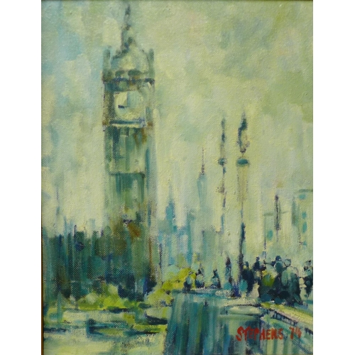27 - Keith Stephens, Big Ben, oil on panel, 47 x 36cms, framed...