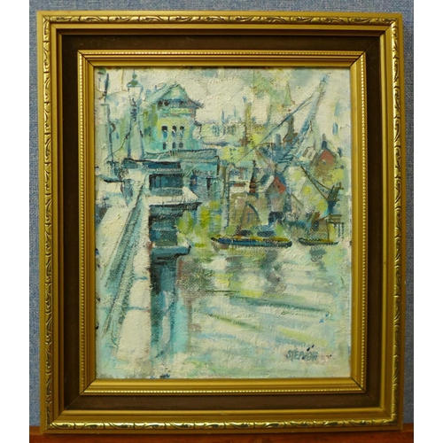 28 - Keith Stephens, harbour scene, oil on board, 29 x 24cms, framed...