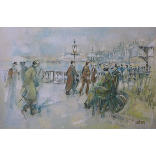 29 - Keith Stephens, promenade scene, oil on canvas, 50 x 75cms, framed...