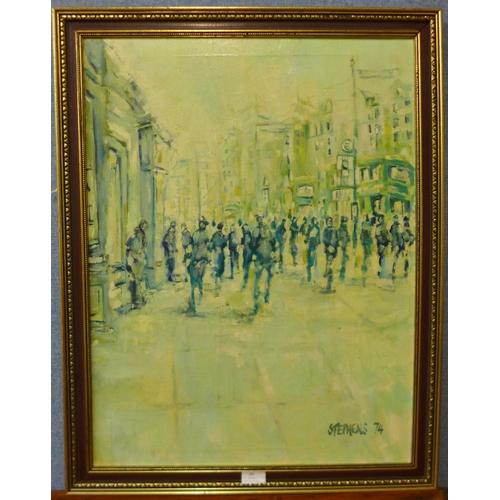 30 - Keith Stephens, Manchester street scene, 68 x 51cms, framed...