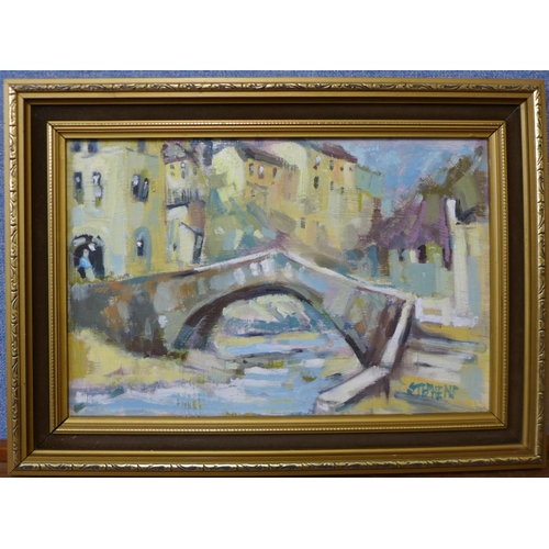 31 - Keith Stephens, canal scene, oil on panel, 24 x 37cms, framed...