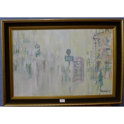32 - Keith Stephens, London street scene, oil on canvas, 50 x 75cms, farmed...
