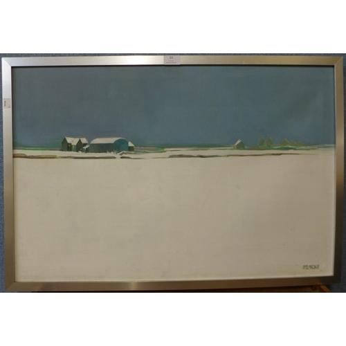 33 - Keith Stephens, snowscape, oil on canvas, 50 x 75cms, framed...