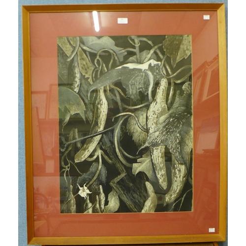 34 - Audrey Cooper, Cucumbers, mixed media, 70 x 53cms, framed...
