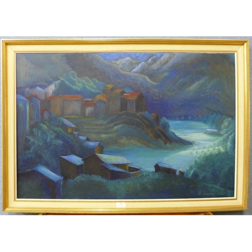 36 - Audrey Cooper, Andorran landscape, oil on canvas, 60 x 90cms, framed...