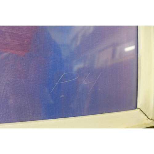 38 - Peter Humphrey, abstract, mixed media, 53 x 69cms, framed...