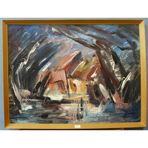 40 - Peter Humphrey, abstract, acrylic, 68 x 90cms, framed...