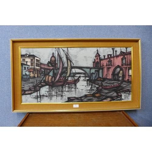 42 - D.H. Savigne (French), Venetian scene, oil on canvas, 39 x 80cms, framed...