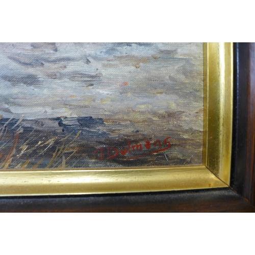 43 - Dutch School, dockyard, oil on panel, indistinctly signed, 28 x 23cms, framed...