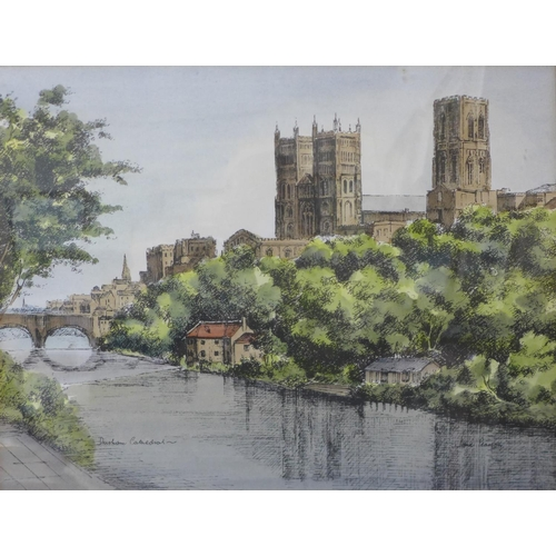 45 - Jane Mumford Pearson, Durham Cathedral and Thornton Dale, pen, ink and watercolour, framed...