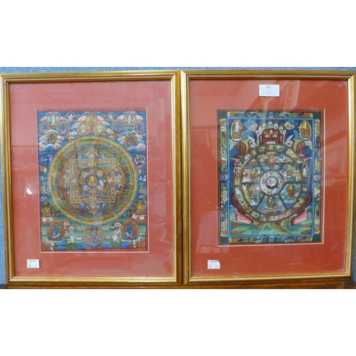 47 - Two Nepalese Wheel of Life studies, gouache on silk, 25 x 20cms, framed...