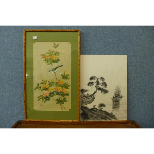 49 - A set of five Chinese still life paintings on silk, 39 x 22cms, framed and one other...