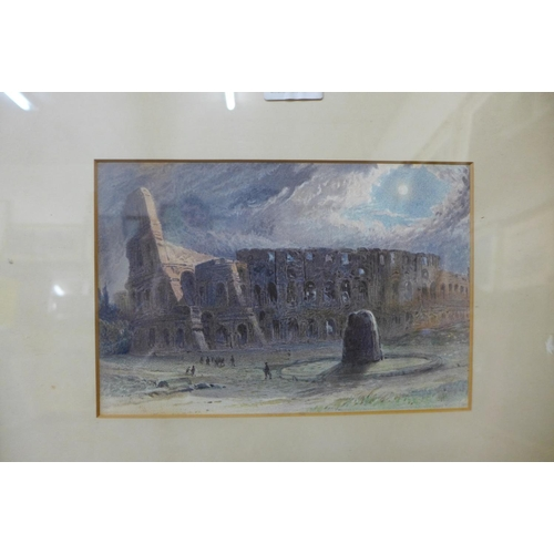 50 - Italian School, the Colosseum, watercolour, 16 x 25cms, framed and three others...