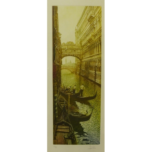 51 - A signed limited edition colour etching, The Bridge of Sighs, Venice, framed...