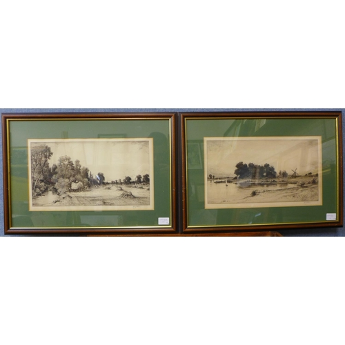 52 - John Fullwood, four etchings, landscapes, various sizes, framed...