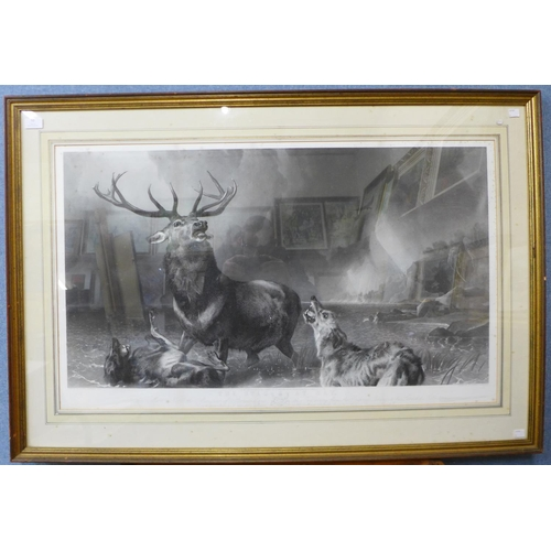53 - A Thomas Landseer engraving, The Stag at Bay, after Edwin Landseer R.A., 57 x 96cms, framed  *Please...
