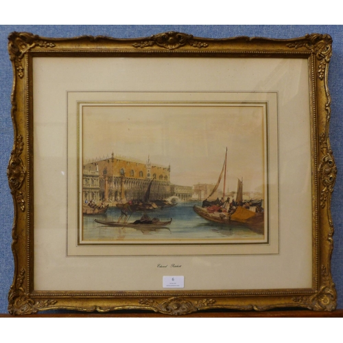 6 - Attributed to Edward Pritchett (fl. 1829-1864), Venetian canal scene with the Doge's Palace and gond...
