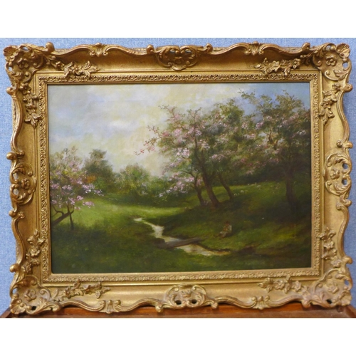 9 - English School, springtime with trees in blossom and a figure seated by a stream, oil on canvas, uns...