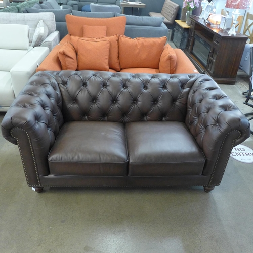1305 - A New Allington two seater brown leather sofa (4054-26) RRP £1166.66 + VAT * this lot is subject to ...